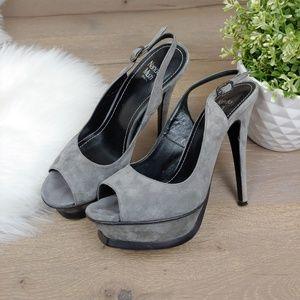 Nando Muzi Italia Gray Suede Platform heel Sandal